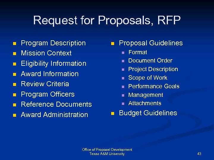 Request for Proposals, RFP n n n n Program Description Mission Context Eligibility Information