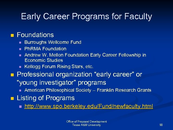 "Early Career Programs for Faculty n Foundations n n n Professional organization ""early career"""