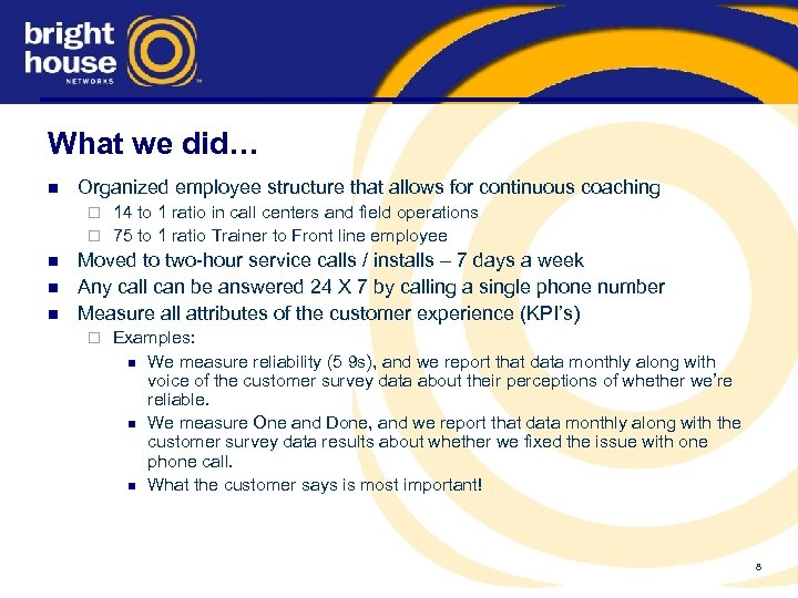 What we did… n Organized employee structure that allows for continuous coaching 14 to
