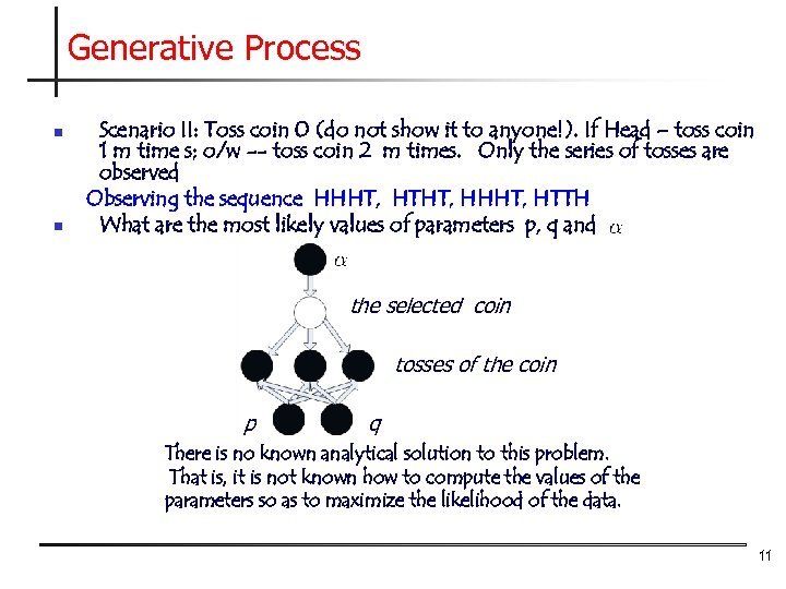 Generative Process n n Scenario II: Toss coin 0 (do not show it to
