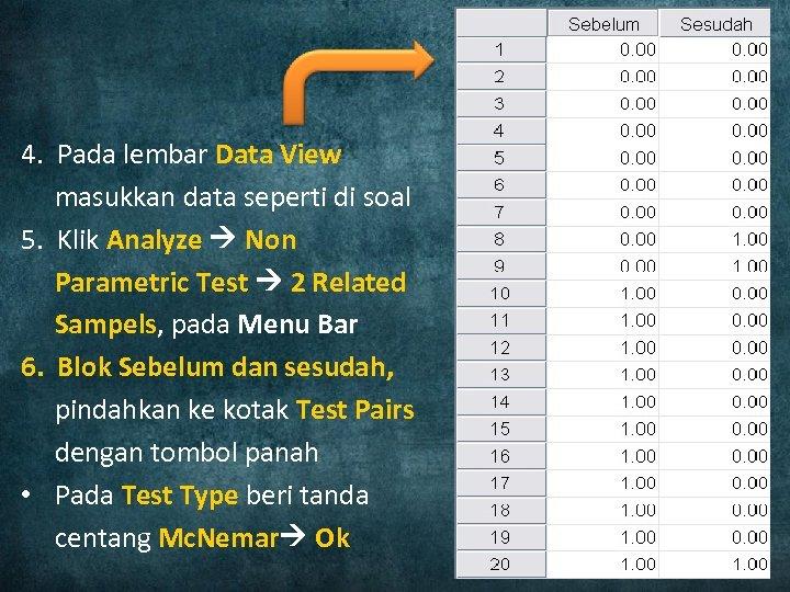4. Pada lembar Data View masukkan data seperti di soal 5. Klik Analyze Non