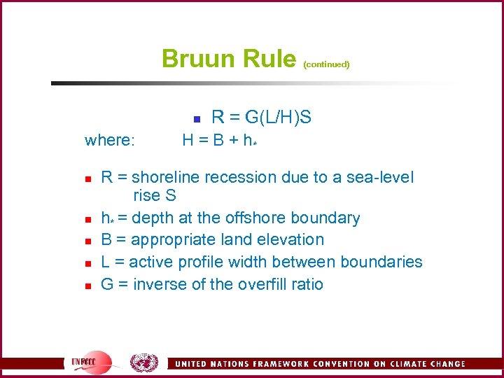 Bruun Rule n where: n n n (continued) R = G(L/H)S H = B