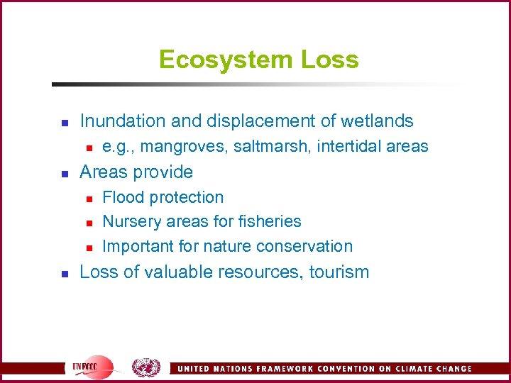 Ecosystem Loss n Inundation and displacement of wetlands n n Areas provide n n