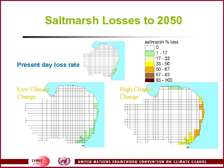 Saltmarsh Losses to 2050 Present day loss rate Low Climate Change High Climate Change