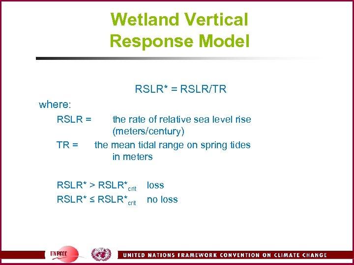 Wetland Vertical Response Model RSLR* = RSLR/TR where: RSLR = TR = the rate