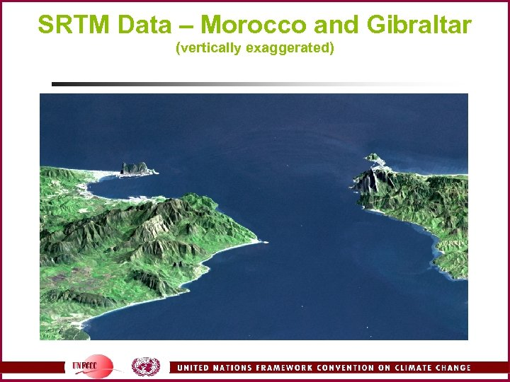 SRTM Data – Morocco and Gibraltar (vertically exaggerated)