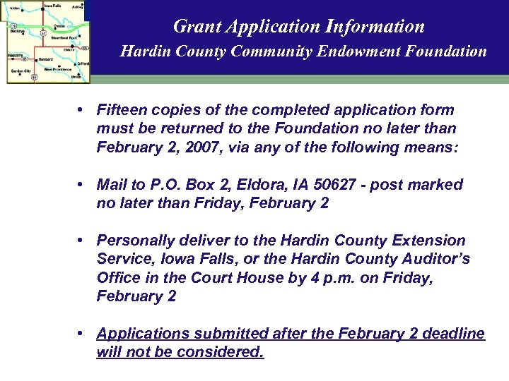 Grant Application Information Hardin County Community Endowment Foundation • Fifteen copies of the completed