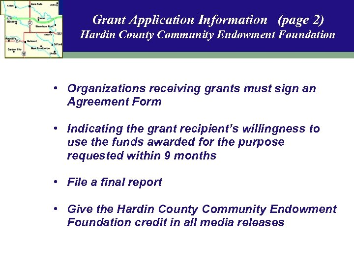 Grant Application Information (page 2) Hardin County Community Endowment Foundation • Organizations receiving grants
