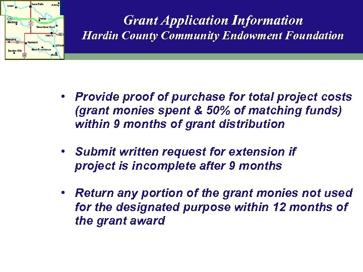 Grant Application Information Hardin County Community Endowment Foundation • Provide proof of purchase for