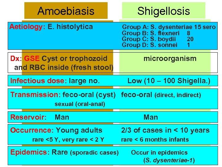 Amoebiasis Aetiology: E. histolytica Dx: GSE Cyst or trophozoid and RBC inside (fresh stool)