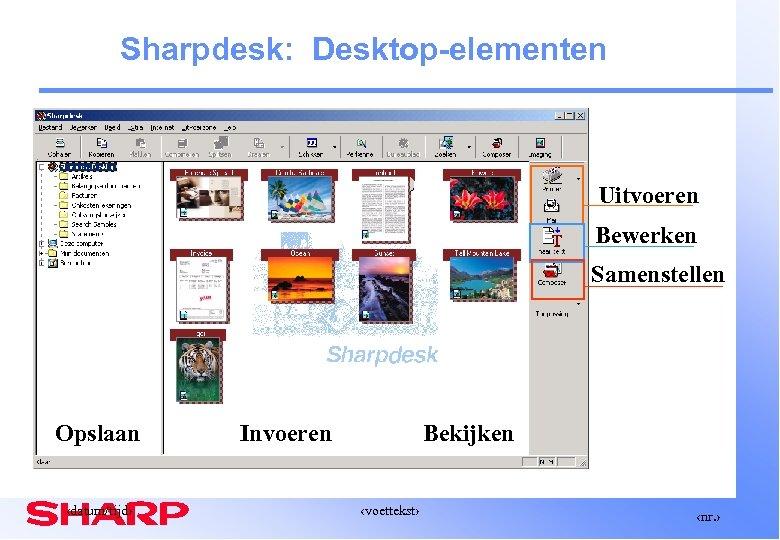 Sharpdesk: Desktop-elementen Uitvoeren Bewerken Samenstellen Opslaan ‹datum/tijd› Invoeren Bekijken ‹voettekst› ‹nr. ›