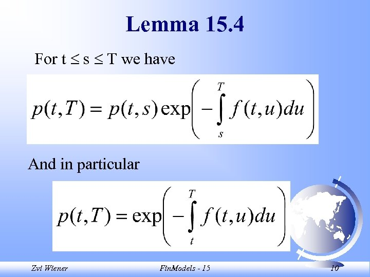 Lemma 15. 4 For t s T we have And in particular Zvi Wiener