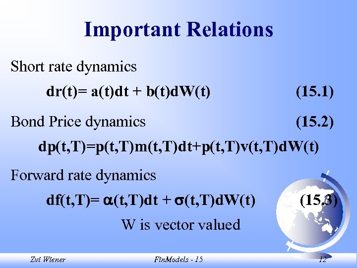 Important Relations Short rate dynamics dr(t)= a(t)dt + b(t)d. W(t) Bond Price dynamics (15.