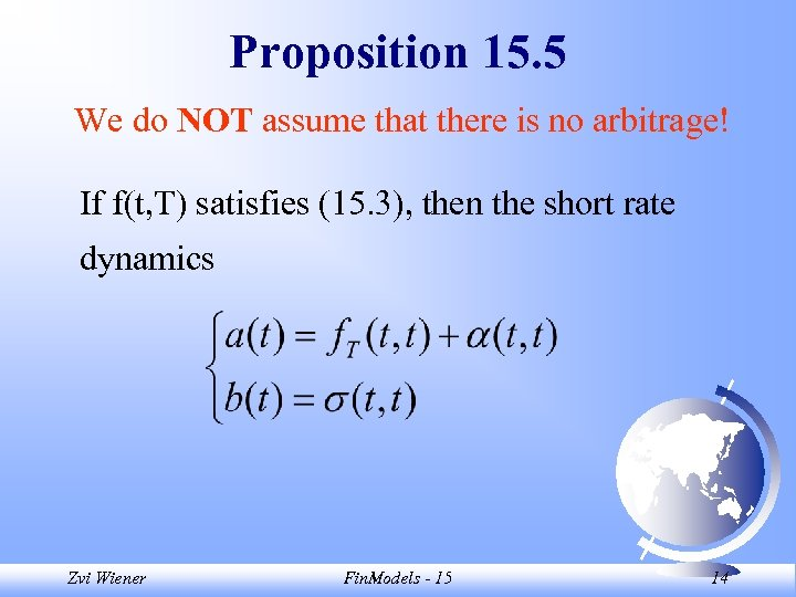Proposition 15. 5 We do NOT assume that there is no arbitrage! If f(t,