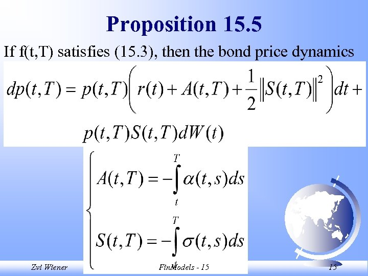 Proposition 15. 5 If f(t, T) satisfies (15. 3), then the bond price dynamics