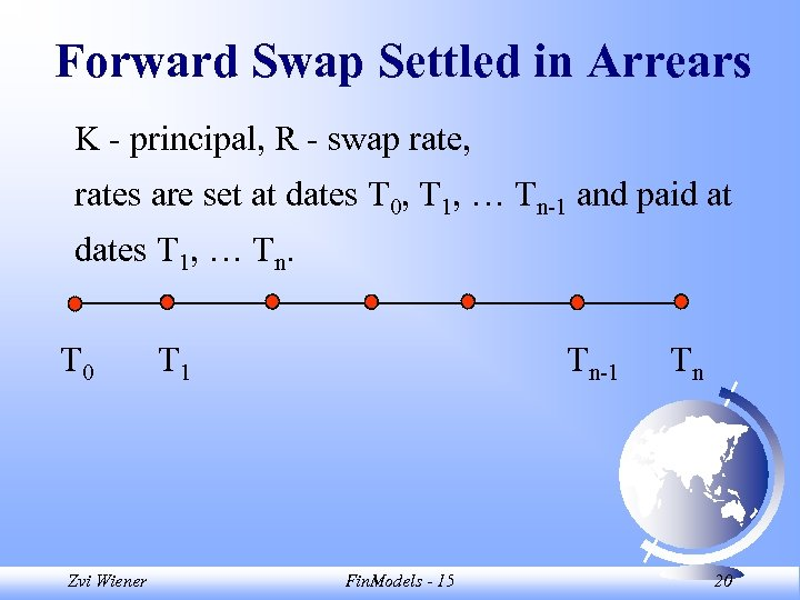 Forward Swap Settled in Arrears K - principal, R - swap rate, rates are