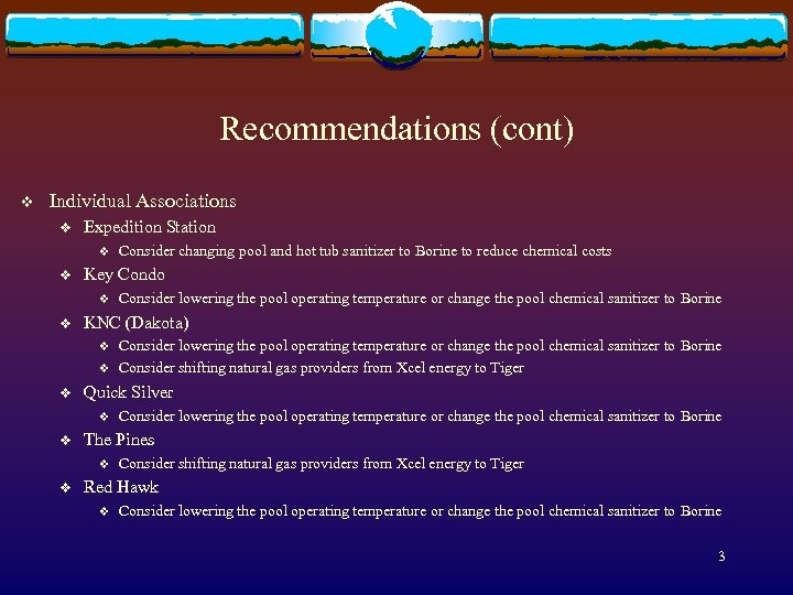 Recommendations (cont) v Individual Associations v Expedition Station v v Key Condo v v