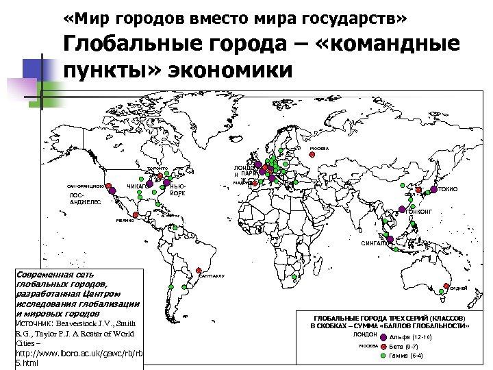 «Мир городов вместо мира государств» Глобальные города – «командные пункты» экономики МОСКВА ЛОНДО
