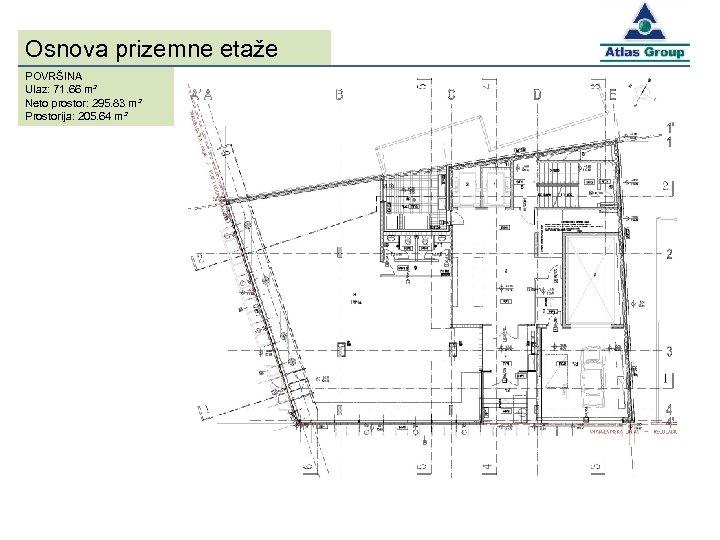 Osnova prizemne etaže POVRŠINA Ulaz: 71. 66 m² Neto prostor: 295. 83 m² Prostorija: