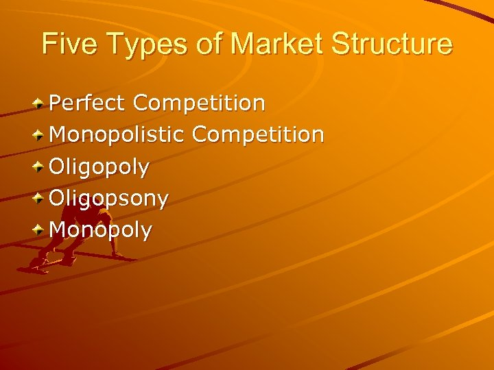 Five Types of Market Structure Perfect Competition Monopolistic Competition Oligopoly Oligopsony Monopoly