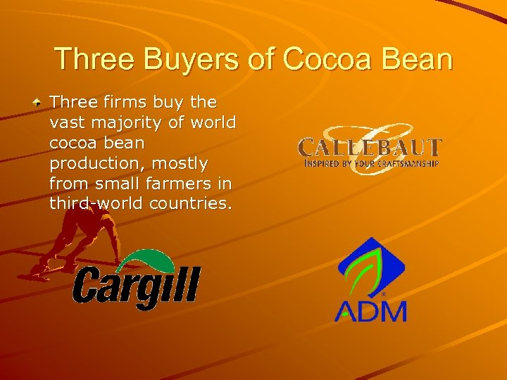 Three Buyers of Cocoa Bean Three firms buy the vast majority of world cocoa