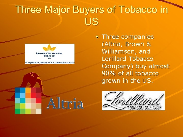 Three Major Buyers of Tobacco in US Three companies (Altria, Brown & Williamson, and
