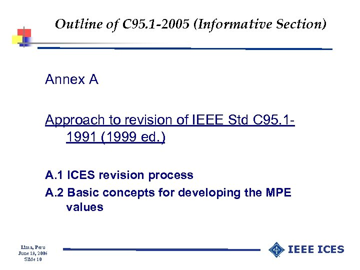 Outline of C 95. 1 -2005 (Informative Section) Annex A Approach to revision of