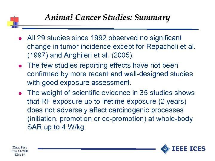 Animal Cancer Studies: Summary l l l All 29 studies since 1992 observed no