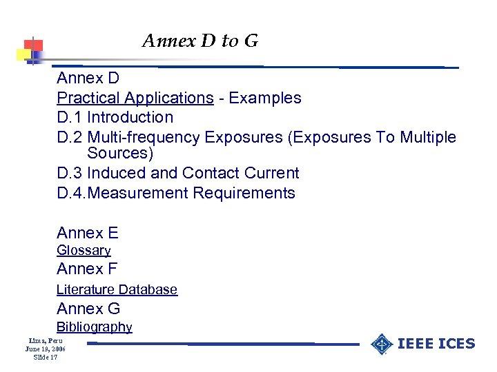 Annex D to G Annex D Practical Applications - Examples D. 1 Introduction D.