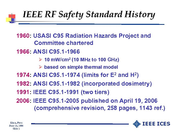 IEEE RF Safety Standard History 1960: USASI C 95 Radiation Hazards Project and Committee