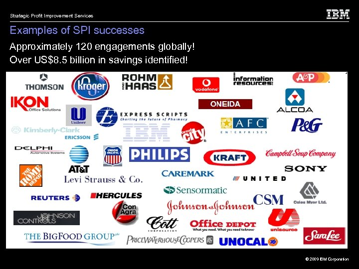Strategic Profit Improvement Services Examples of SPI successes Approximately 120 engagements globally! Over US$8.