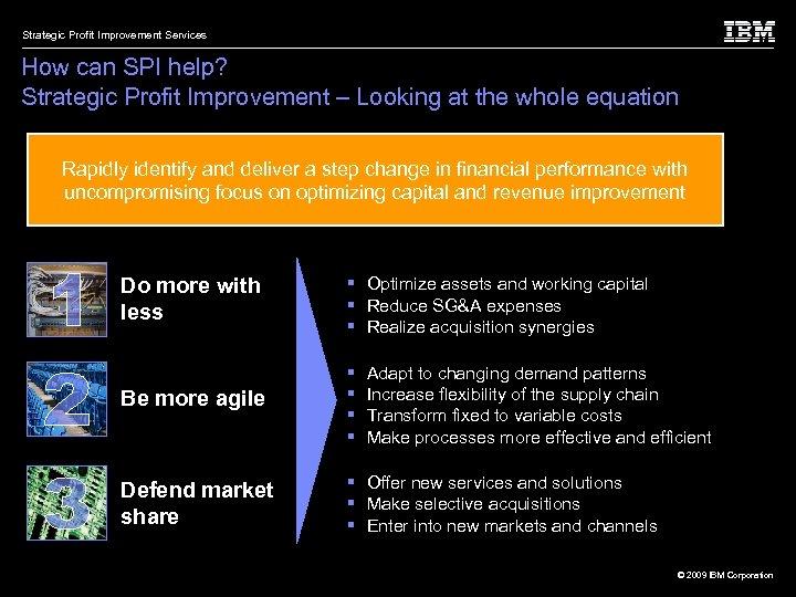 Strategic Profit Improvement Services How can SPI help? Strategic Profit Improvement – Looking at