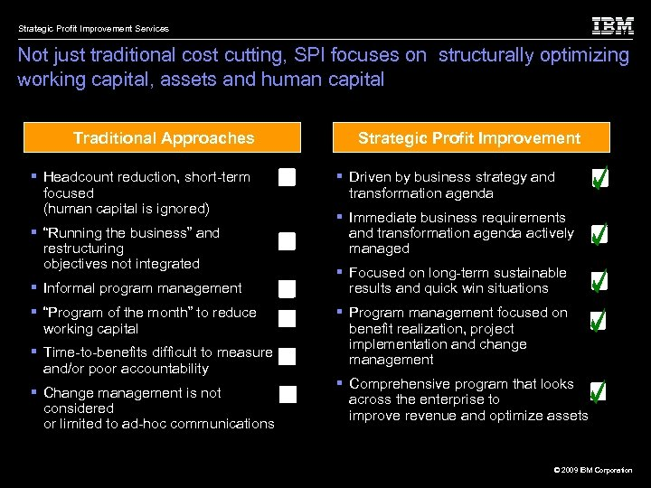 Strategic Profit Improvement Services Not just traditional cost cutting, SPI focuses on structurally optimizing