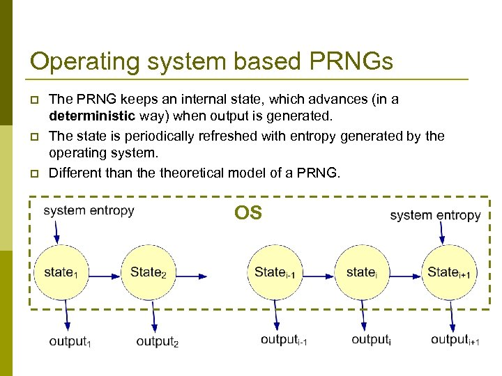 Operating system based PRNGs p p p The PRNG keeps an internal state, which