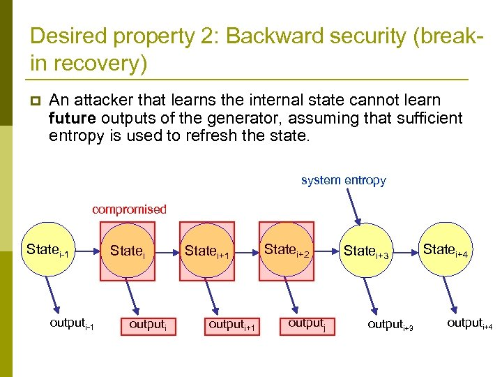 Desired property 2: Backward security (breakin recovery) p An attacker that learns the internal
