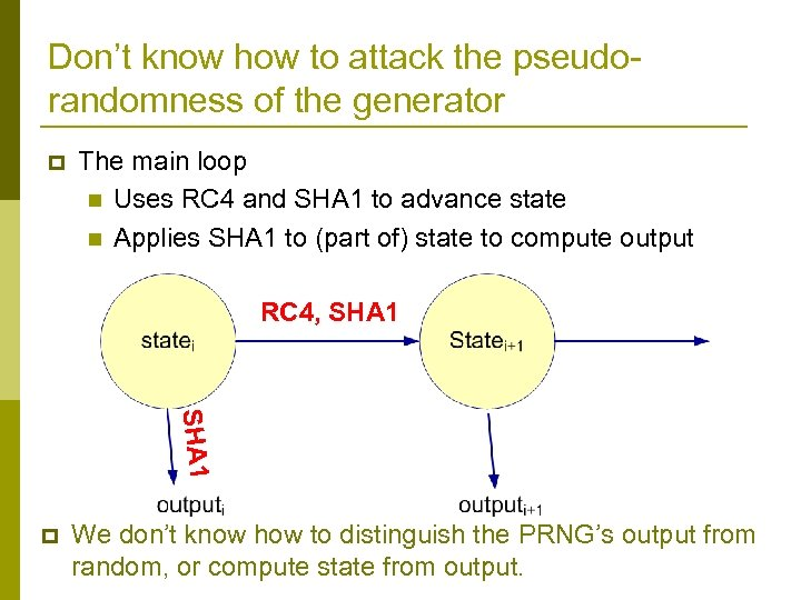 Don't know how to attack the pseudorandomness of the generator p The main loop