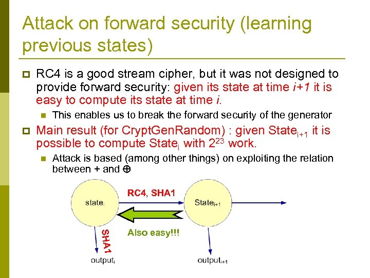 Attack on forward security (learning previous states) p RC 4 is a good stream