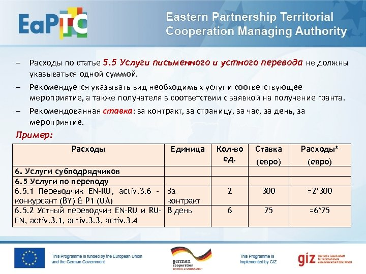 – Расходы по статье 5. 5 Услуги письменного и устного перевода не должны указываться