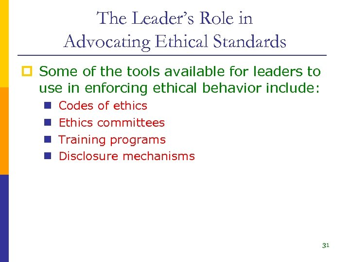 The Leader's Role in Advocating Ethical Standards p Some of the tools available for