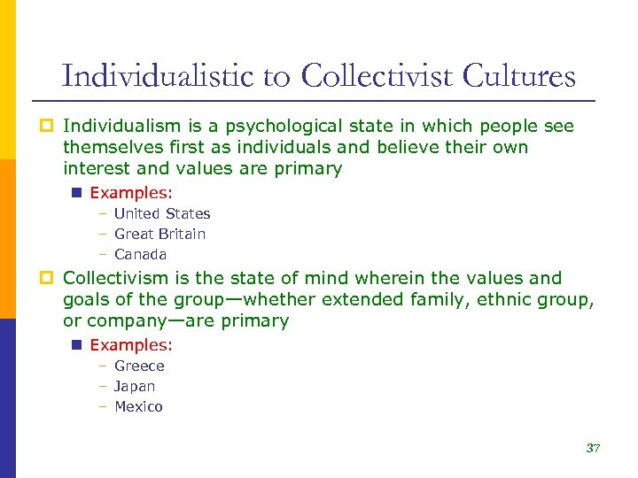 Individualistic to Collectivist Cultures p Individualism is a psychological state in which people see