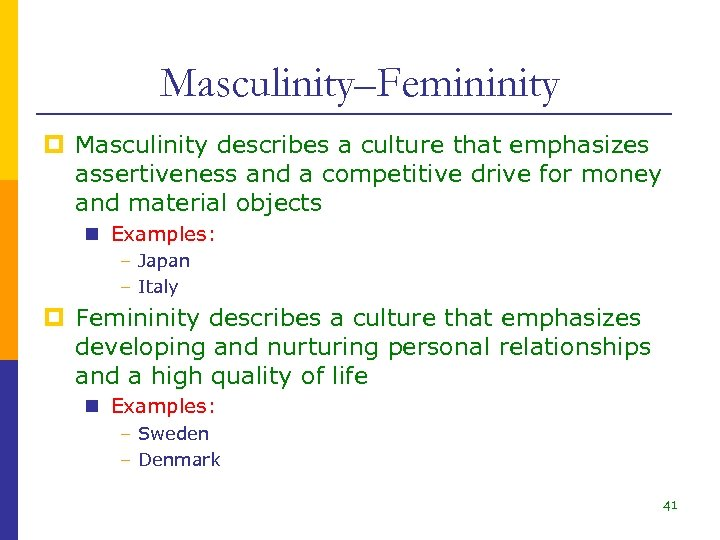 Masculinity–Femininity p Masculinity describes a culture that emphasizes assertiveness and a competitive drive for