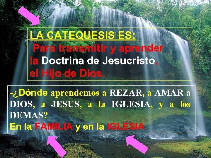 LA CATEQUESIS ES: Para transmitir y aprender la Doctrina de Jesucristo, el Hijo de