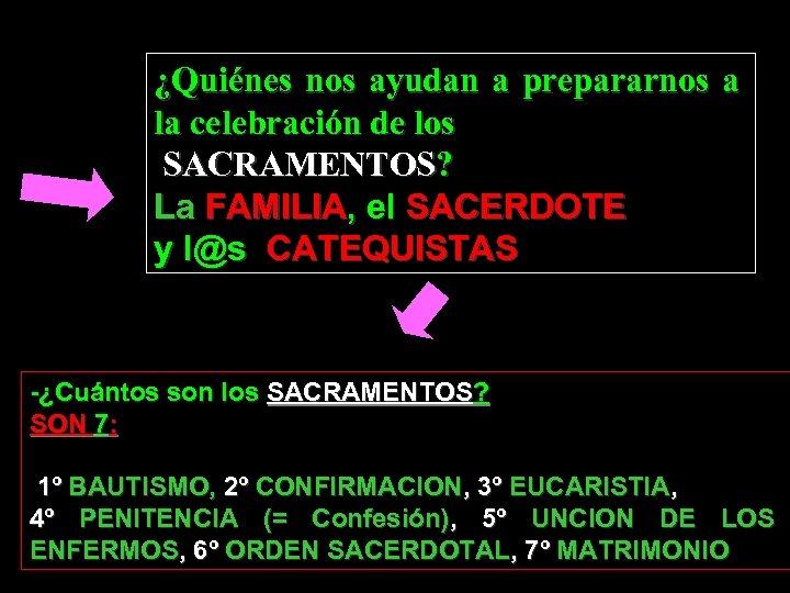 ¿Quiénes nos ayudan a prepararnos a la celebración de los SACRAMENTOS? La FAMILIA, el