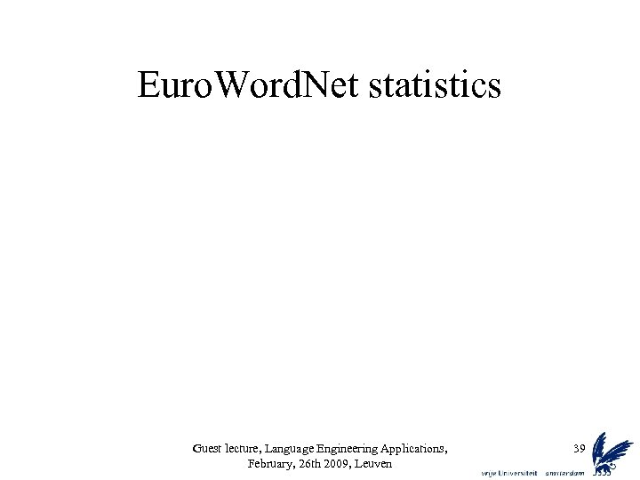 Euro. Word. Net statistics Guest lecture, Language Engineering Applications, February, 26 th 2009, Leuven