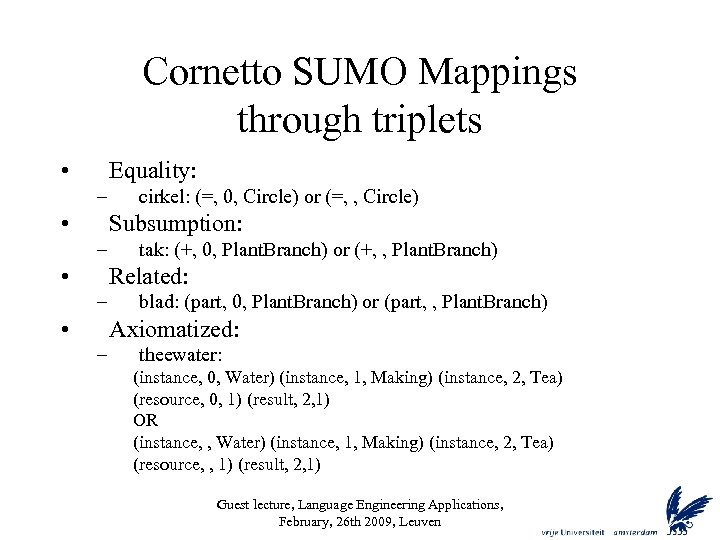 Cornetto SUMO Mappings through triplets • Equality: – • cirkel: (=, 0, Circle) or