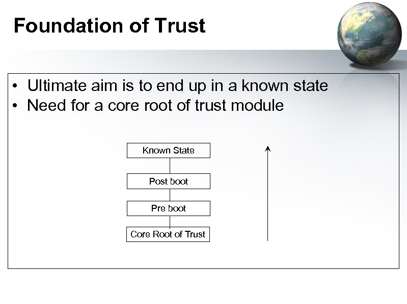 Foundation of Trust • Ultimate aim is to end up in a known state