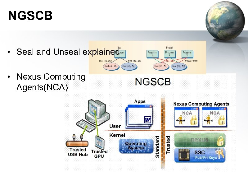 NGSCB • Seal and Unseal explained • Nexus Computing Agents(NCA)