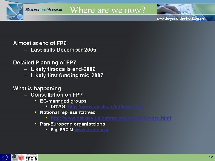Where are we now? www. beyond-the-horizon. net Almost at end of FP 6 –