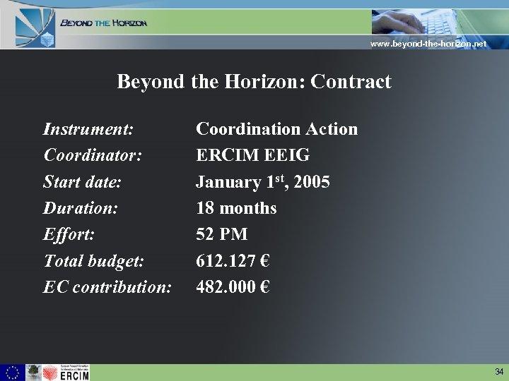 www. beyond-the-horizon. net Beyond the Horizon: Contract Instrument: Coordinator: Start date: Duration: Effort: Total