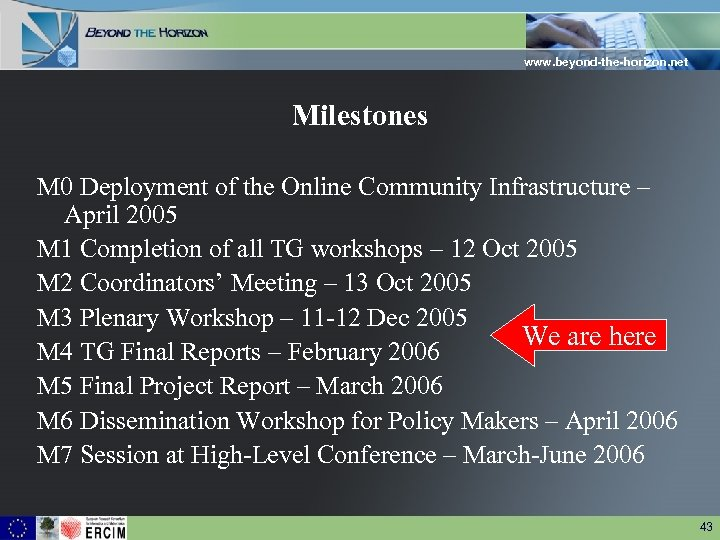 www. beyond-the-horizon. net Milestones M 0 Deployment of the Online Community Infrastructure – April